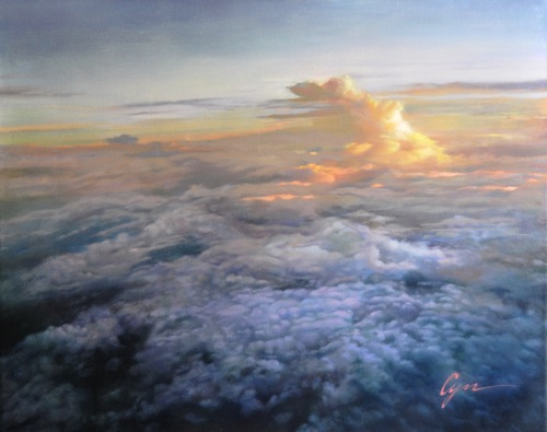 """Dancing upon the Clouds"" Oil on canvas  24""x30"" Awarded ""the Ragar's Award for Creativity"" at the Best of America 2008 – 18th Annual Fine Art Competition and Exhibition of the National Oil and Acrylic Painters' Society"