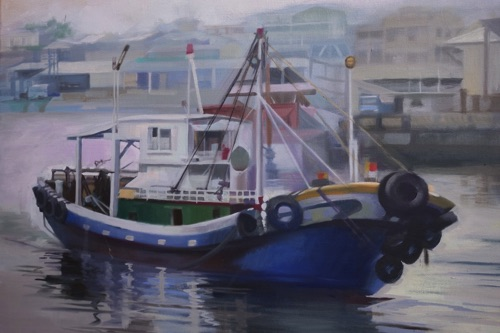 """Fishboat in Kaohsiung, Taiwan"" Oil on canvas  18""x24"""