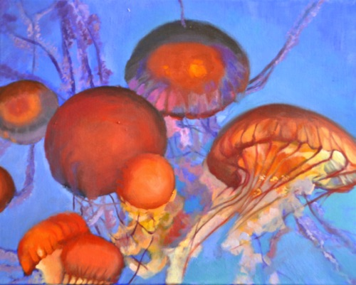 """Dance of Jelly Fish"" Oil on canvas  16""x20"""