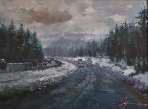 """Snow in Truckee"" Oil on canvas  18""x24"""