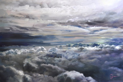 """Far Away - Dancing Clouds"" Oil on canvas  20""x30"" Accepted by Greenhouse Gallery ""Salon International 2012 Exhibition"""