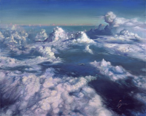 """Let's Celebrate – Dancing Clouds"" Oil on canvas  24""x30"" Selected by Greenhouse Gallery in the ""Salon International 2010 Exhibition"" and NOAPS 2016 Signature and Master  Artist Exhibition"