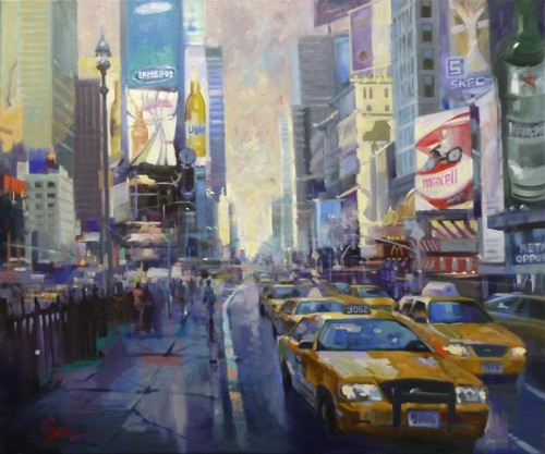 """Times Square NY"" Oil on canvas  20""x24"" Accepted by National Oil and Acrylic Painters Society's  ""Best of America 2011"""