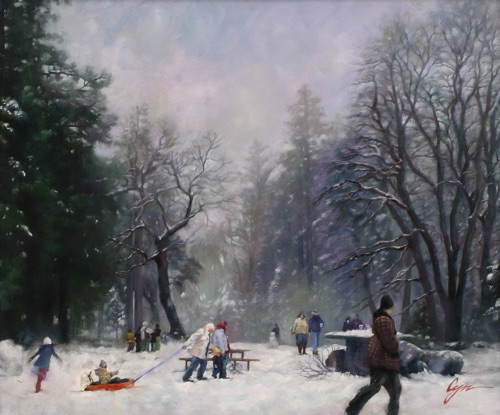"""Wintry Delight"" Oil on canvas  20""x24"" Selected in the ""Salon International 2008 Exhibition"" by Greenhouse Gallery"